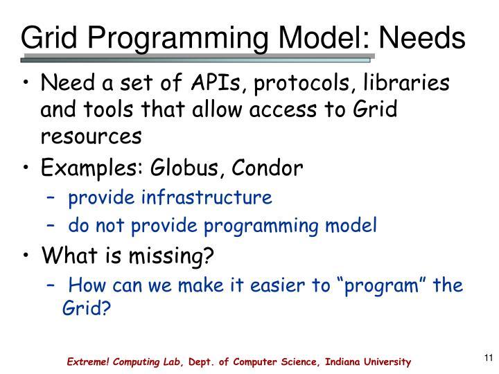 Grid Programming Model: Needs