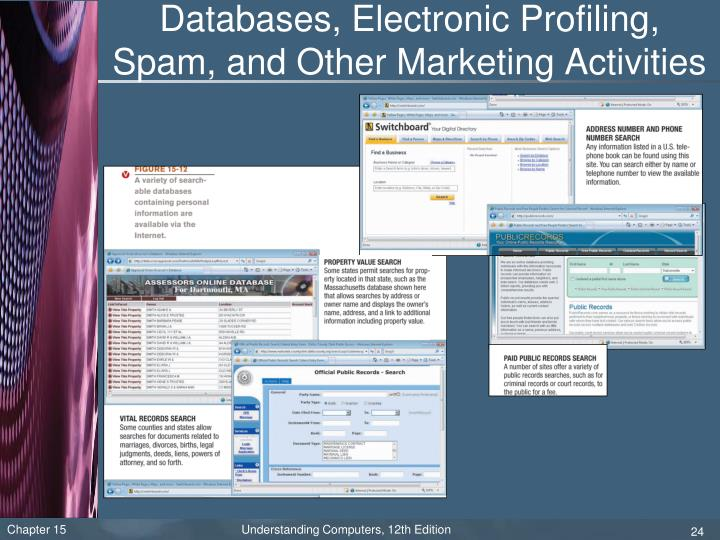Databases, Electronic Profiling, Spam, and Other Marketing Activities