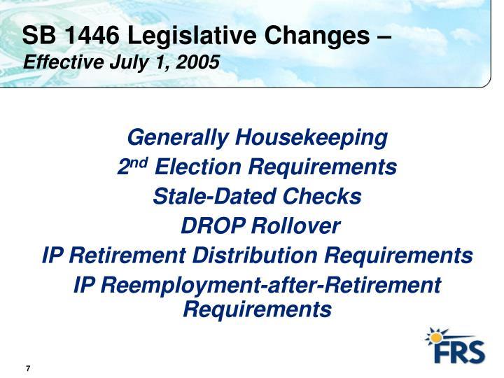 SB 1446 Legislative Changes –