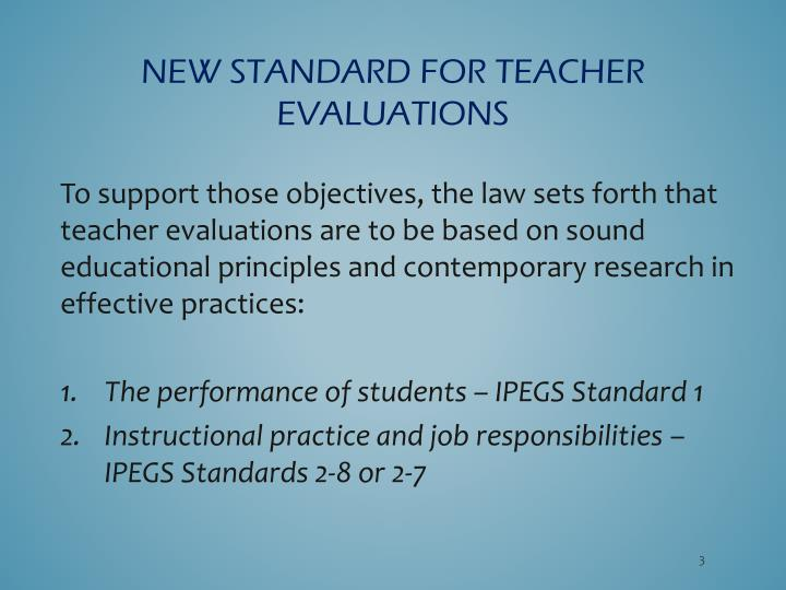 New standard for teacher evaluations1