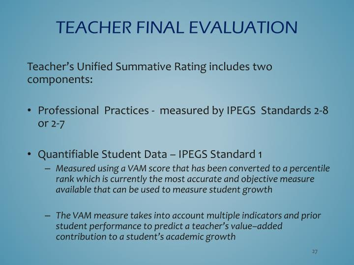 Teacher FINAL EVALUATION