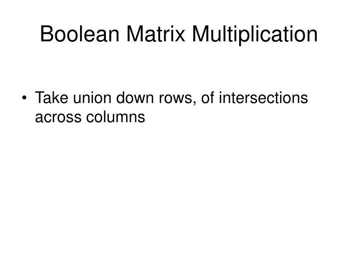 Boolean Matrix Multiplication