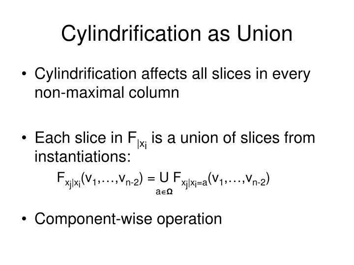 Cylindrification as Union