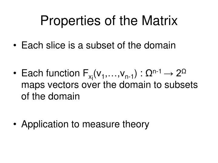 Properties of the Matrix