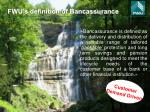fwu s definition of bancassurance