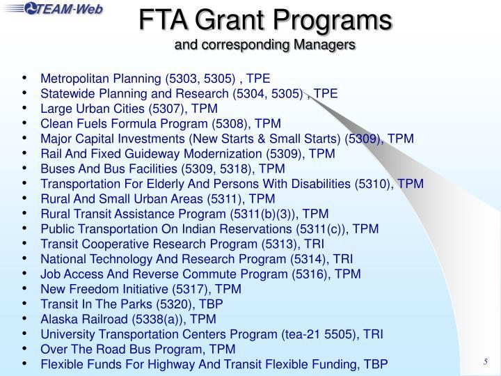 FTA Grant Programs