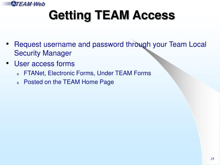 Getting TEAM Access