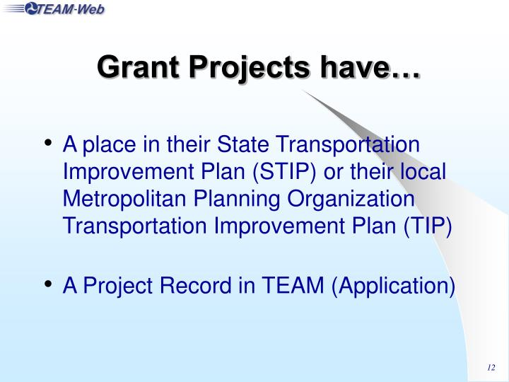 Grant Projects have…