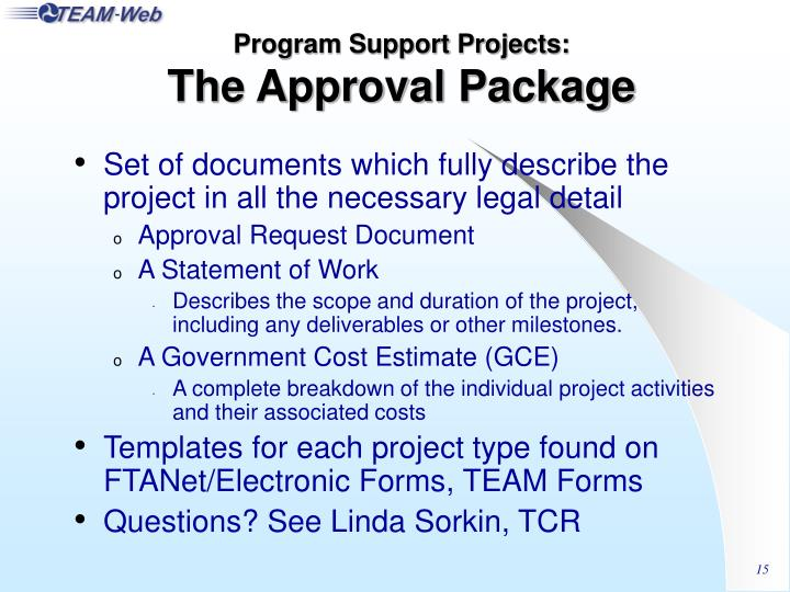 Program Support Projects: