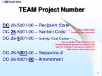 team project number