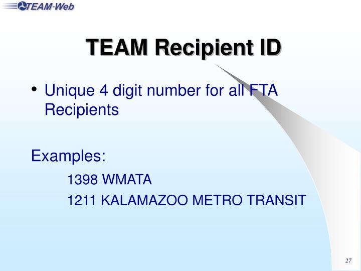 TEAM Recipient ID