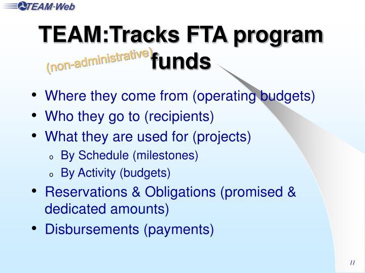 TEAM:Tracks FTA program funds