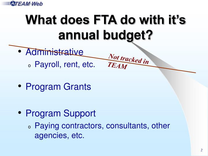 What does FTA do with it's annual budget?