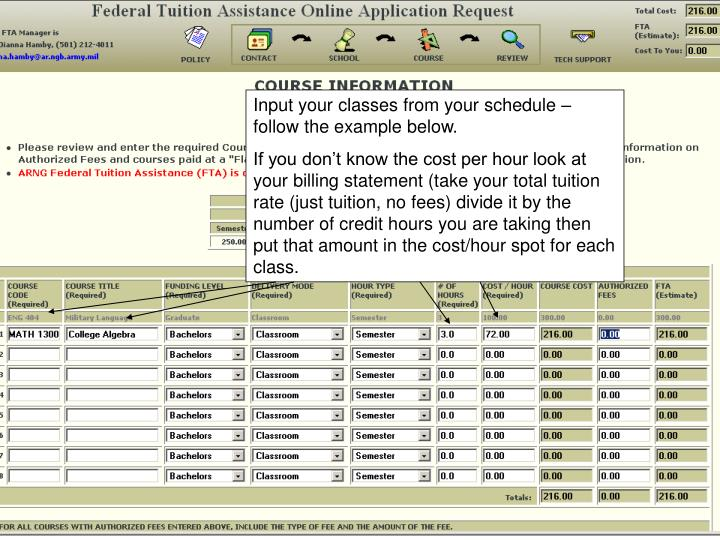 Input your classes from your schedule – follow the example below.