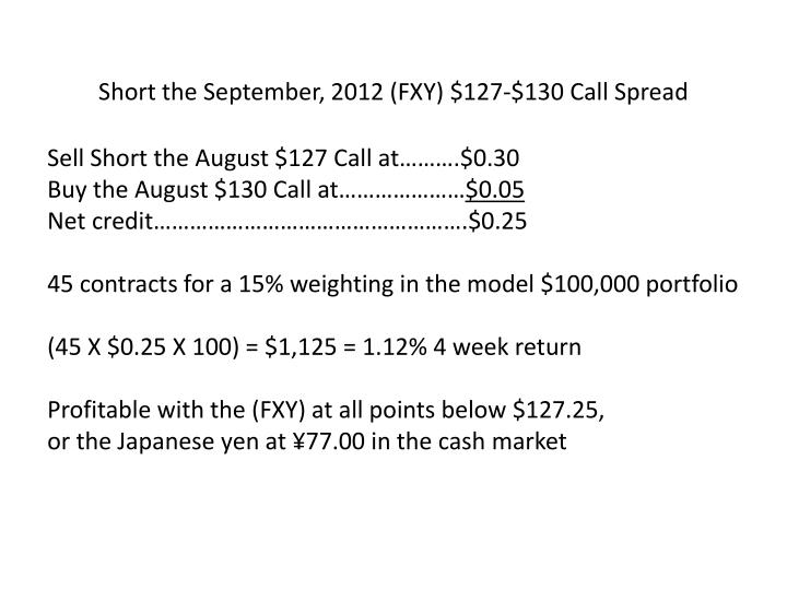 Short the September, 2012 (FXY) $127-$130 Call Spread