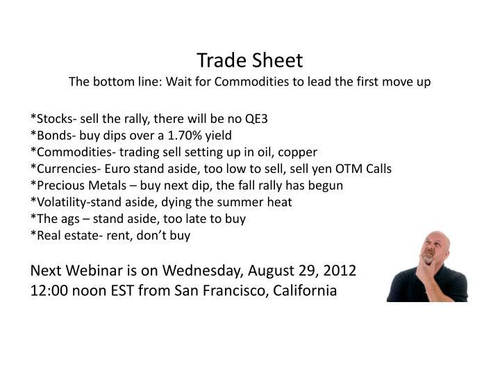 Trade Sheet