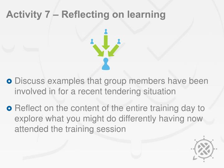 Activity 7 – Reflecting on learning