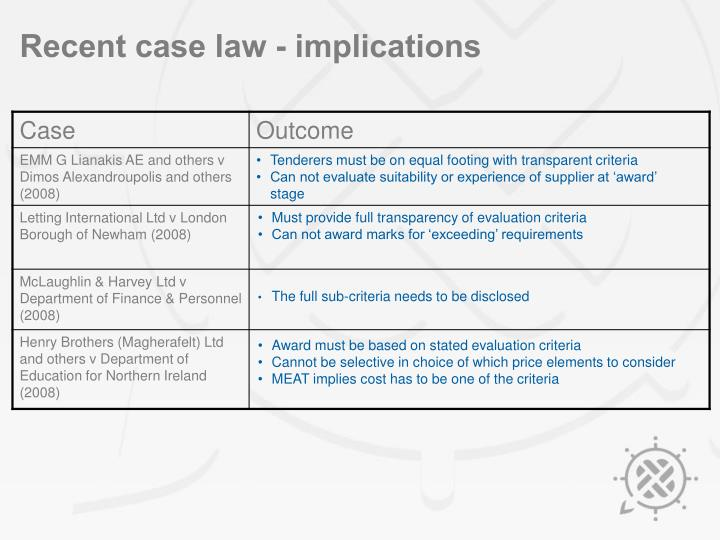 Recent case law - implications