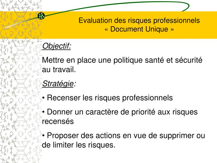 evaluation des risques professionnels document unique