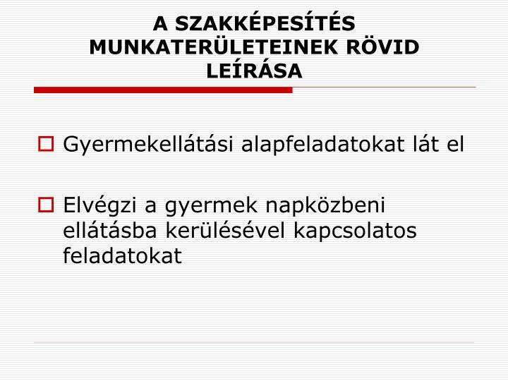 A SZAKKÉPESÍTÉS MUNKATERÜLETEINEK RÖVID LEÍRÁSA