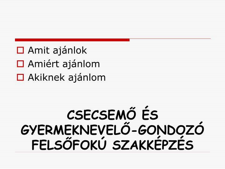 CSECSEMŐ ÉS GYERMEKNEVELŐ-GONDOZÓ FELSŐFOKÚ SZAKKÉPZÉS