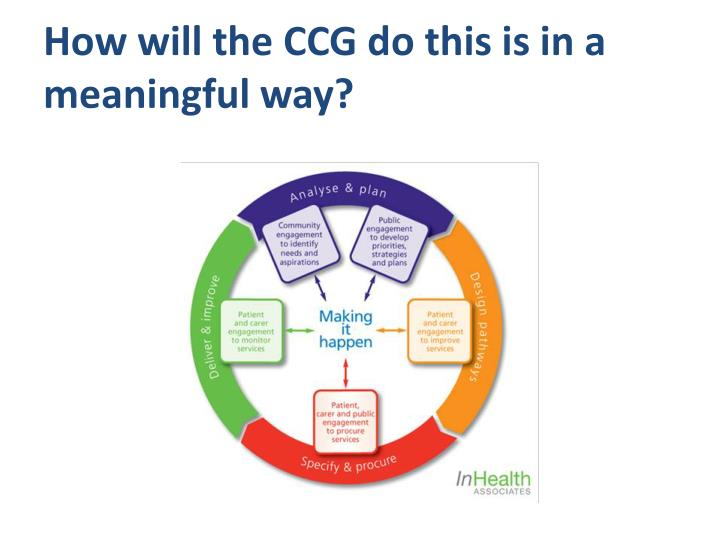 How will the CCG do this is in a meaningful way?