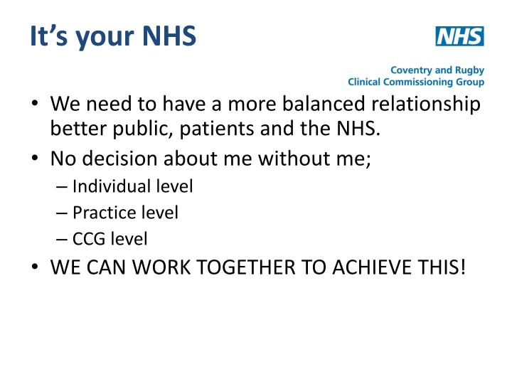 It's your NHS