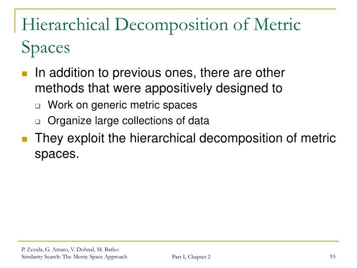 Hierarchical Decomposition of Metric Spaces
