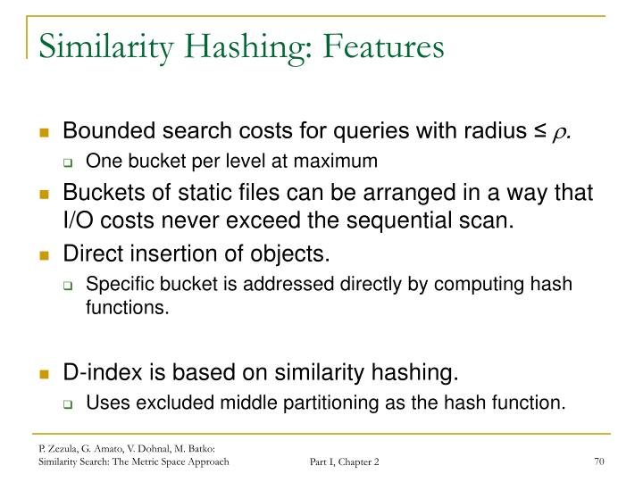Similarity Hashing: Features