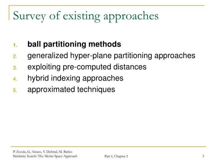 Survey of existing approaches