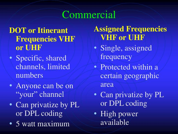 DOT or Itinerant Frequencies VHF or UHF