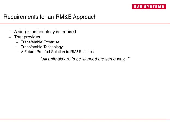 Requirements for an RM&E Approach