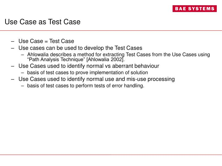 Use Case as Test Case