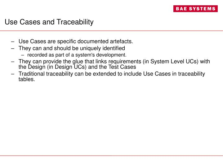 Use Cases and Traceability