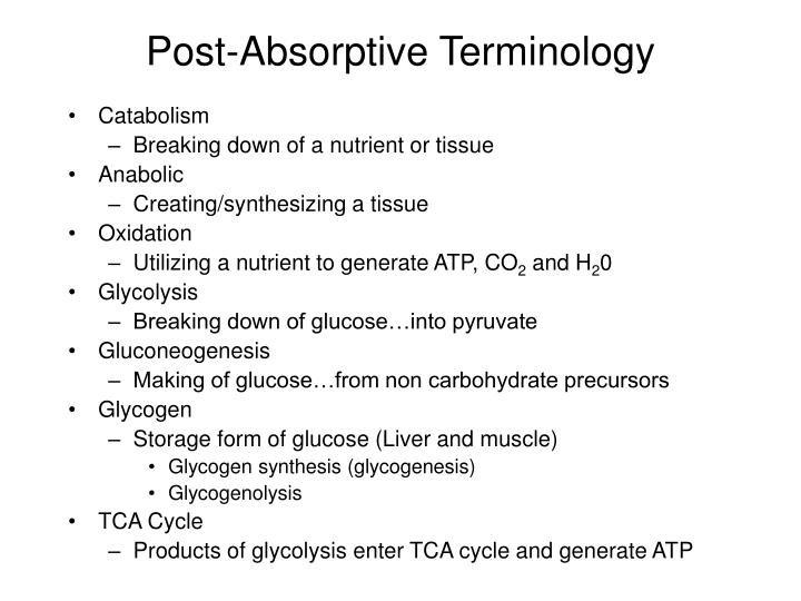 Post-Absorptive Terminology