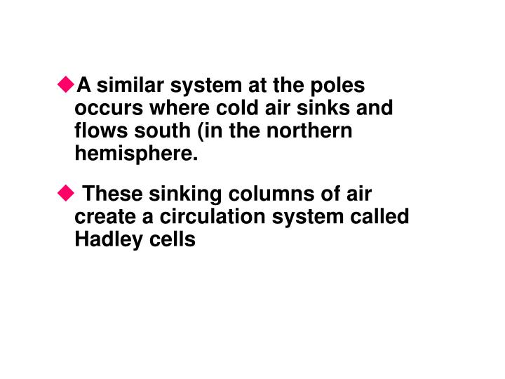 A similar system at the poles occurs where cold air sinks and flows south (in the northern hemisphere.