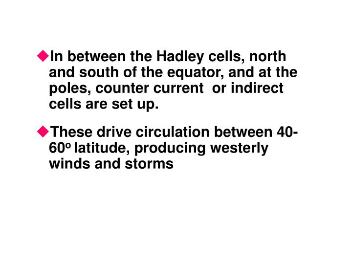 In between the Hadley cells, north and south of the equator, and at the poles, counter current  or indirect cells are set up.