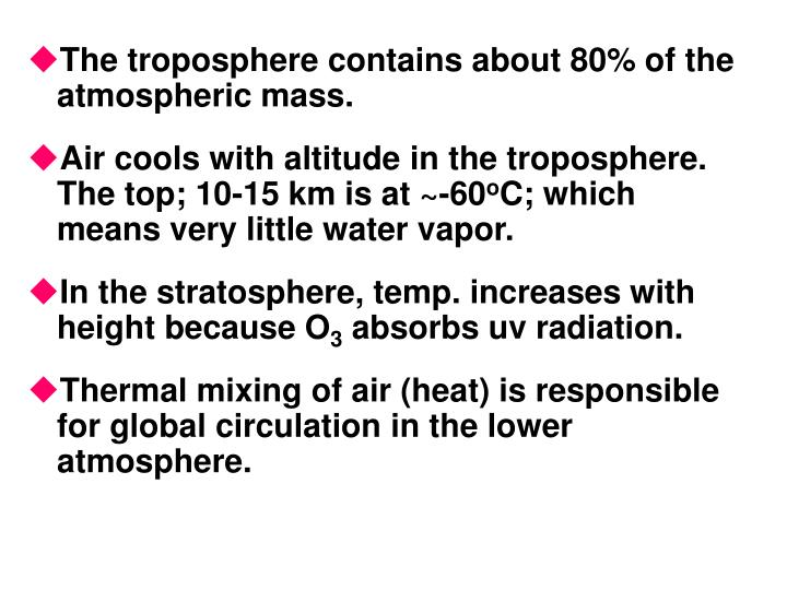 The troposphere contains about 80% of the atmospheric mass.