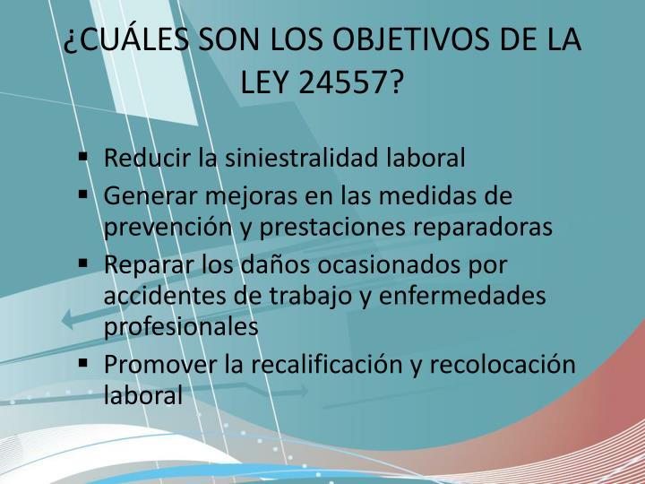 ¿CUÁLES SON LOS OBJETIVOS DE LA LEY 24557?