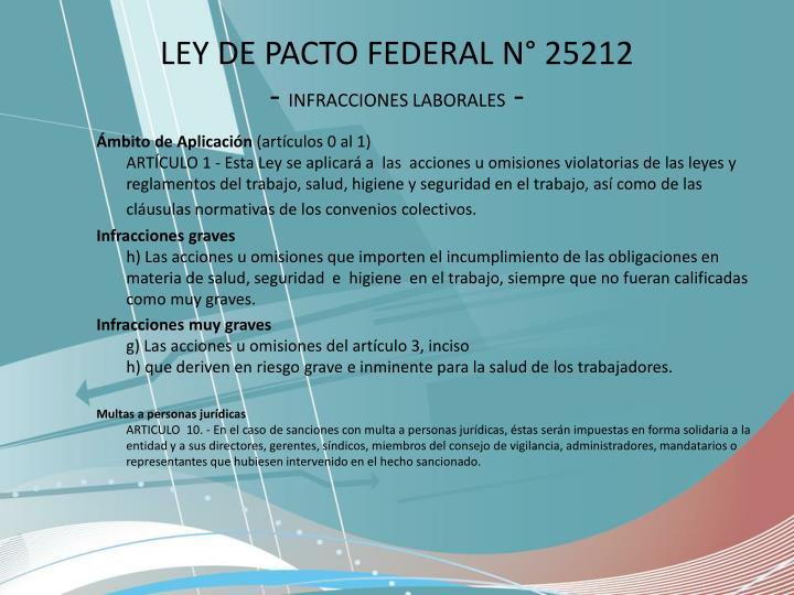LEY DE PACTO FEDERAL N° 25212