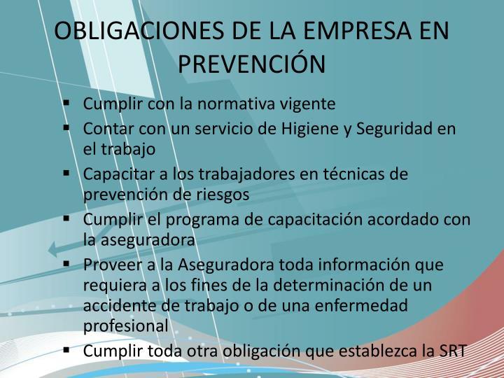 OBLIGACIONES DE LA EMPRESA EN PREVENCIÓN