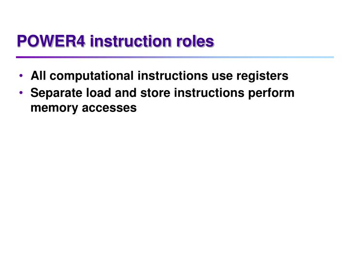 POWER4 instruction roles