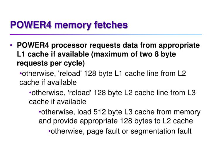 POWER4 memory fetches