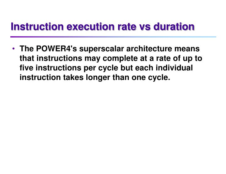 Instruction execution rate vs duration