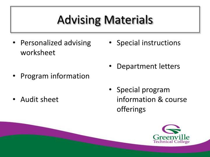 Advising Materials