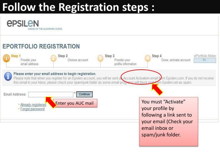 Follow the Registration steps :