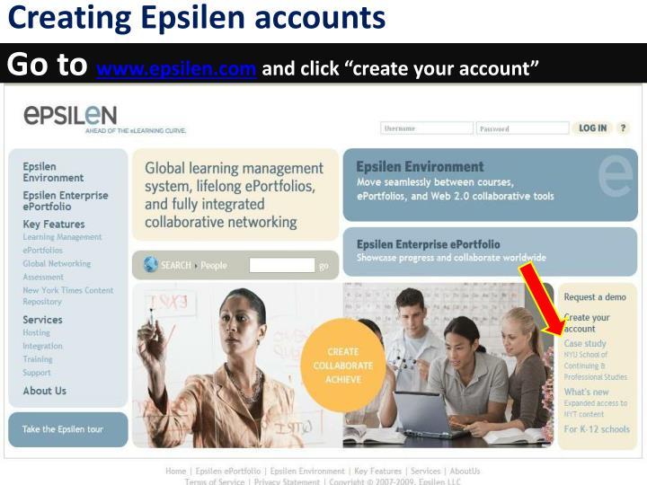 Creating Epsilen accounts