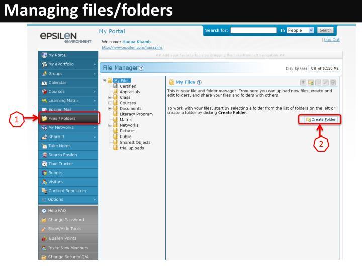 Managing files/folders