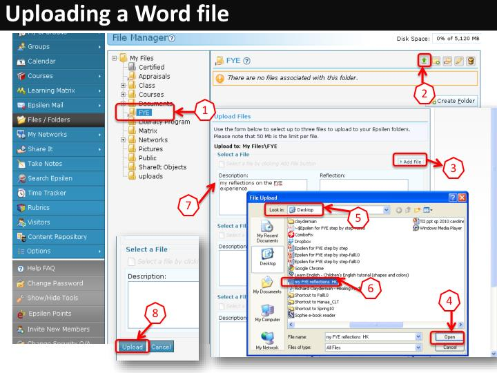 Uploading a Word file