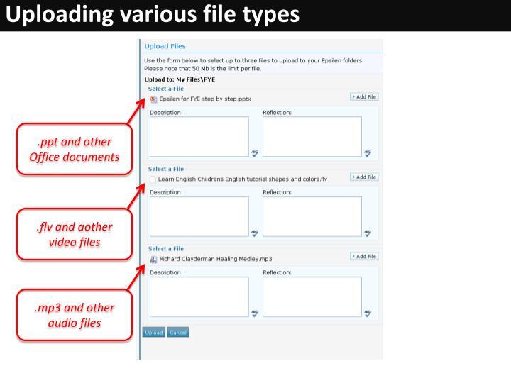 Uploading various file types